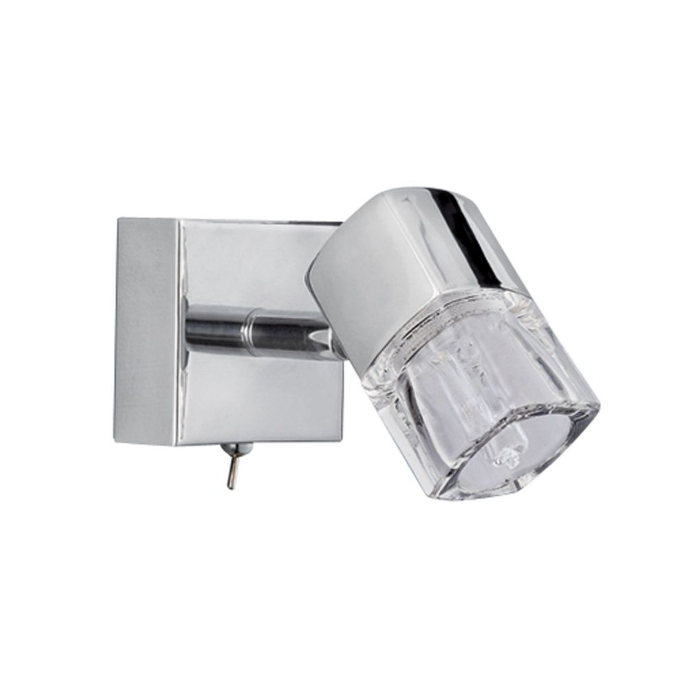 Blocs - 1 Light Spotlight Wall Bracketracket, Chrome, Clear Glass (Ice Cube) 9881Cc-Led